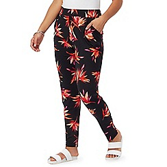 The Collection Petite - Black floral print petite harem trousers