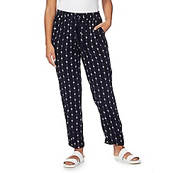 The Collection Petite - Navy printed trousers