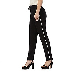 The Collection Petite - Black tapered piped petite trousers