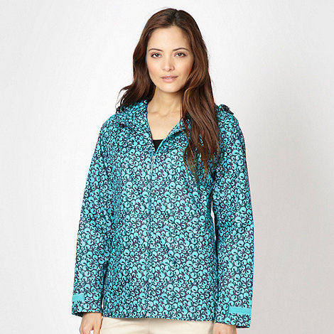 Maine New England - Navy patterned shower resistant mac jacket