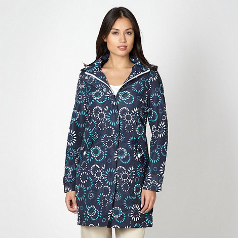Maine New England - Navy floral shower proof rain jacket