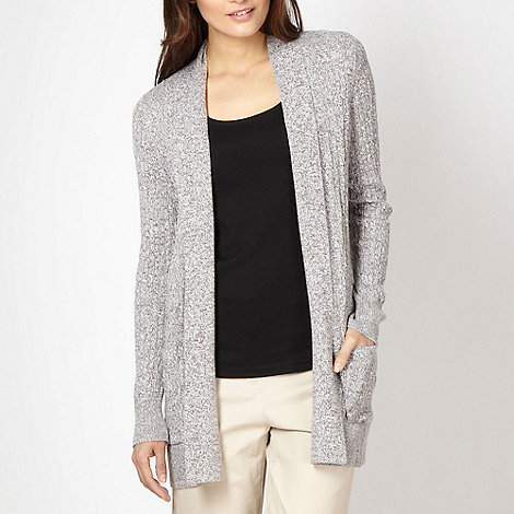 Maine New England - Taupe twisted knit edge to edge cardigan