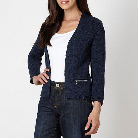 Maine New England - Navy two tone edge to edge cardigan