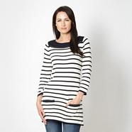 Off white striped knit tunic