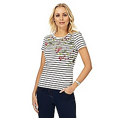 Maine New England - White striped floral hem print top