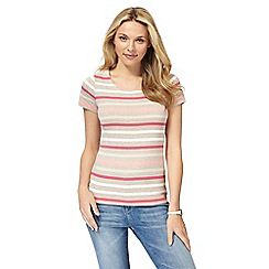 Maine New England - Taupe jersey striped top