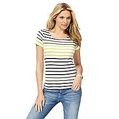 Maine New England - Lime jersey striped top