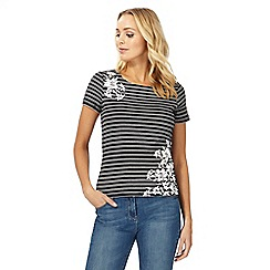 Maine New England - Black striped floral print top