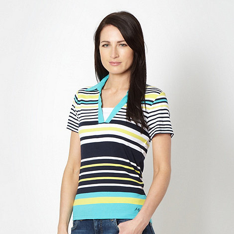 Maine New England - Turquoise striped collar top