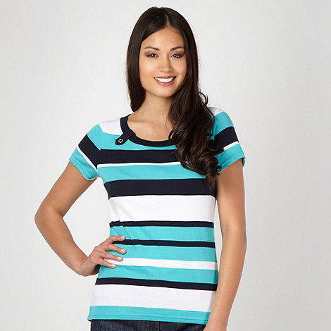 Maine New England - Turquoise striped boat neck top