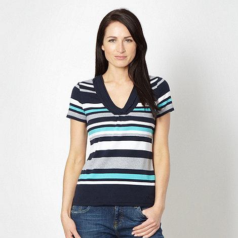 Maine New England - Navy striped V neck t-shirt