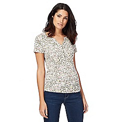 Maine New England - Multi-coloured floral print notch neck top