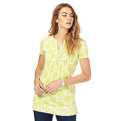 Maine New England - Green daisy print tunic top