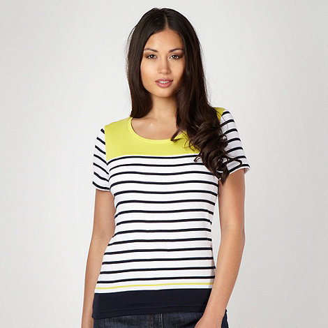 Maine New England - Navy striped scoop neck top