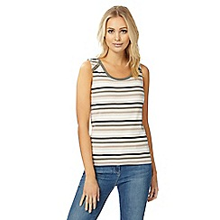 Maine New England - Multi-coloured striped scoop neck vest top