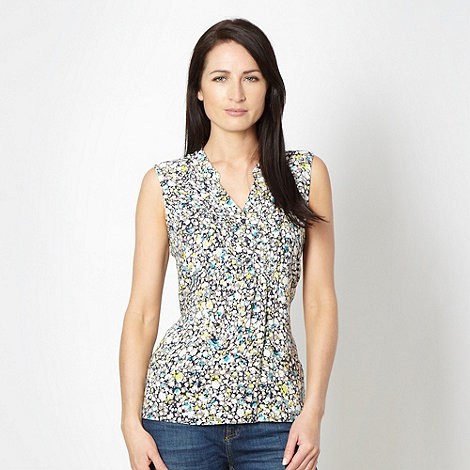Maine New England - Taupe splattered floral sleeveless top