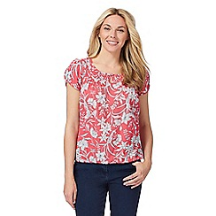 Maine New England - Pink floral print scoop neck top