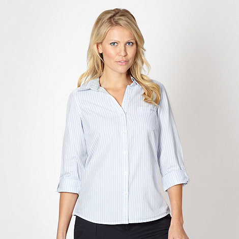 Maine New England - Light blue striped three quarter sleeve shirt