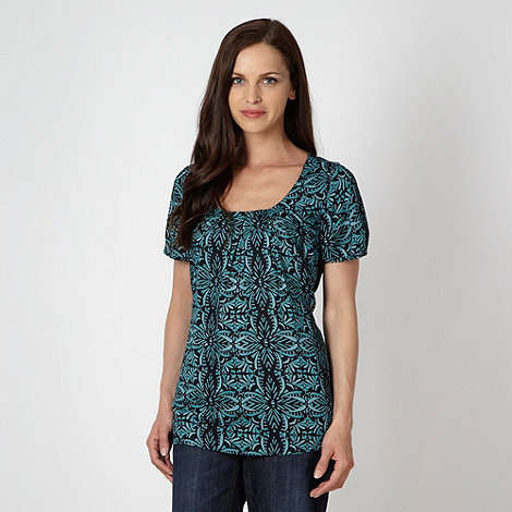 Maine New England - Turquoise woven floral top