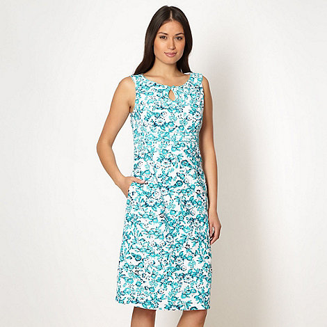 Maine New England - Turquoise floral linen blend dress