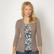 Taupe jersey three quarter sleeved 2-in-1 top