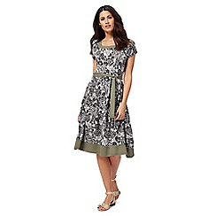 Maine New England - Khaki floral print jersey dress