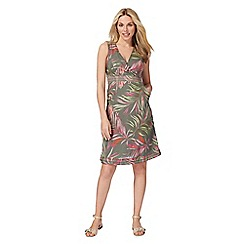 Maine New England - Green leaf print wrap dress