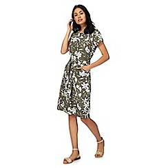 Maine New England - Khaki floral print knee length shift dress