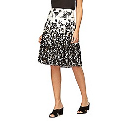 Maine New England - Black and ivory floral print skirt