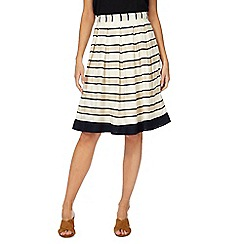 Maine New England - Cream striped pleated skirt
