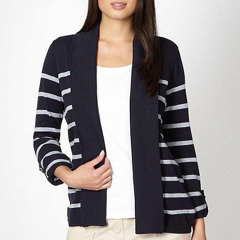Maine New England - Navy block striped cardigan