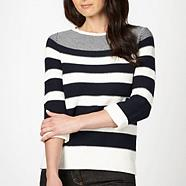 Navy graduated striped jumper