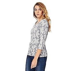 Maine New England - Grey fine striped floral print top