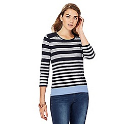 Maine New England - Navy and grey striped suedette shoulder top