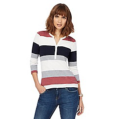 Maine New England - Multi-coloured block striped granddad collar top