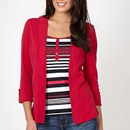 Dark pink 2-in-1 striped top and cardigan