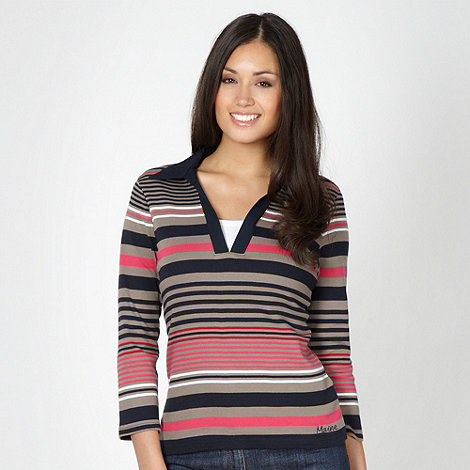 Maine New England - Taupe striped collar top