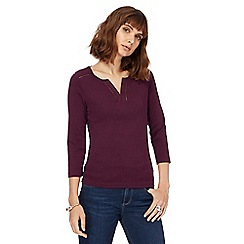 Maine New England - Plum broderie notch neck top