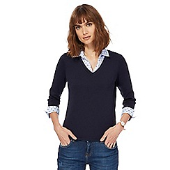 Maine New England - Navy mock collar top