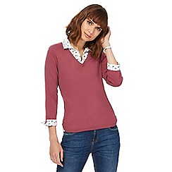 Maine New England - Dark pink mock collar top