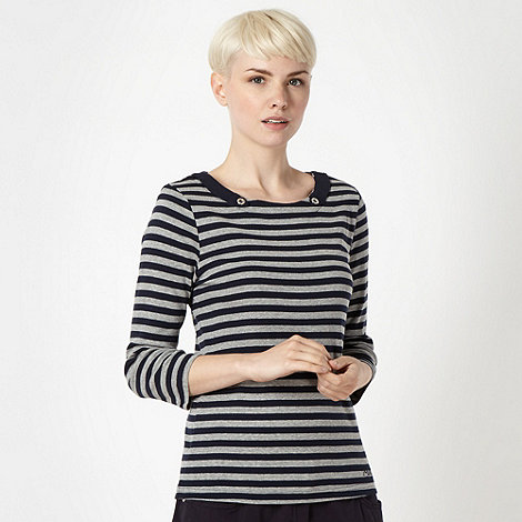 Maine New England - Navy striped button tab detail top
