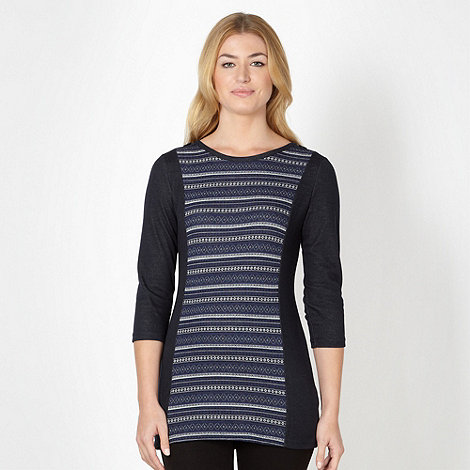 Maine New England - Navy jacquard panel tunic top