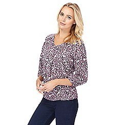 Maine New England - Plum floral V-neck top