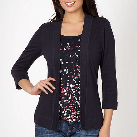 Maine New England - Navy 2-in-1 floral top and cardigan