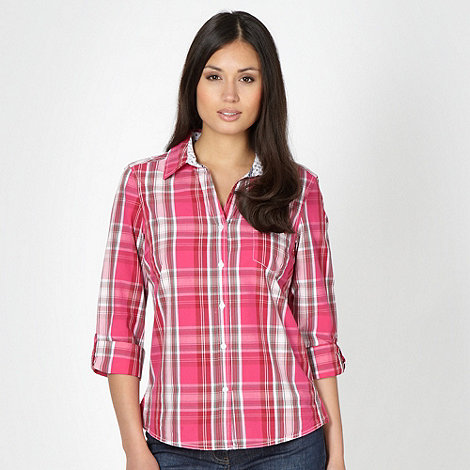 Maine New England - Dark pink checked shirt