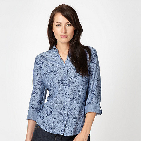 Maine New England - Blue floral chambray shirt