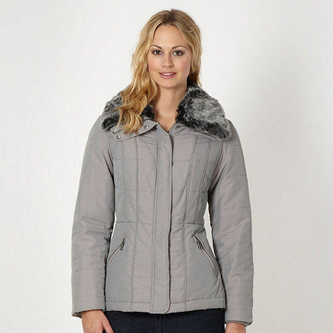 Maine New England - Grey padded faux fur collar jacket