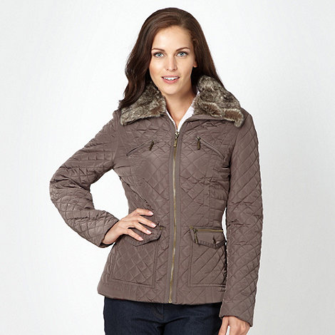 Maine New England - Taupe faux fur neck quilted jacket