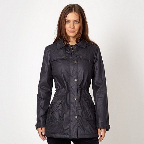 Maine New England - Navy hooded waxed jacket