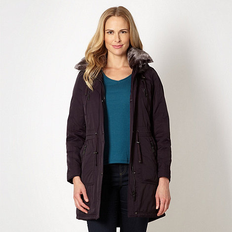 Maine New England - Plum faux fur trimmed parka coat